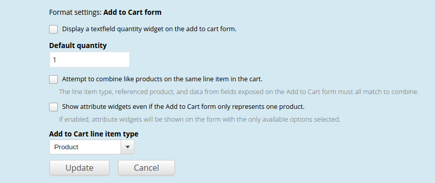 Add to Cart display formatter settings