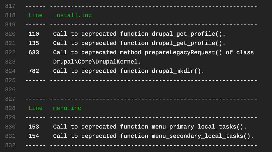 Testing your Drupal code base for deprecated code usage with