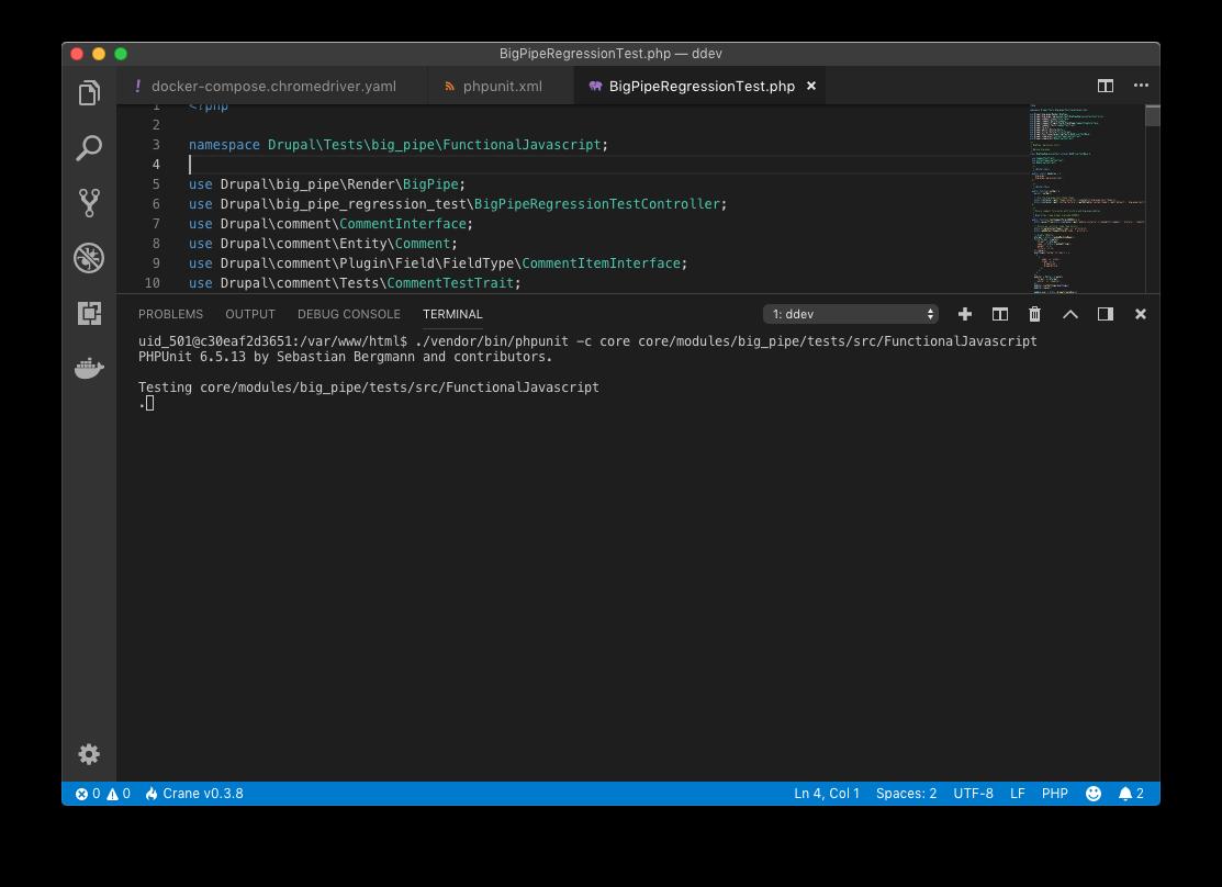Running Drupal's FunctionalJavascript tests on DDEV